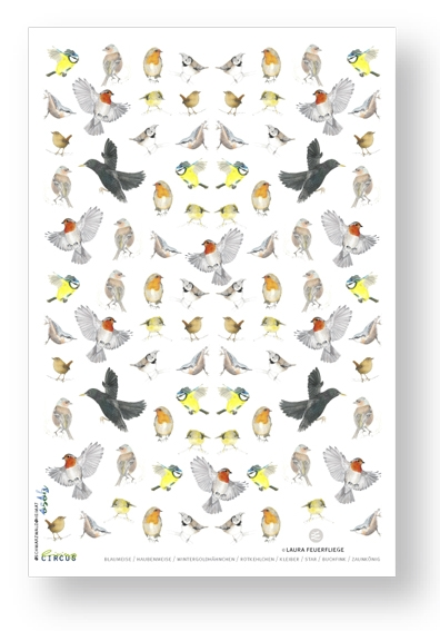 Feines Geschirrtuch / heimische Vögel