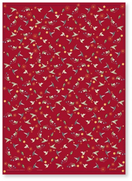 Rotes Geschenkpapier mit Kolibris