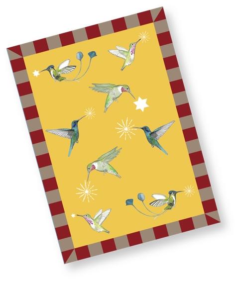 Kolibri Weihnachtskarte / gelb