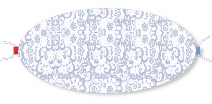 Ovaletti - Mund-Nasen-Maske / hellblaue Spitze