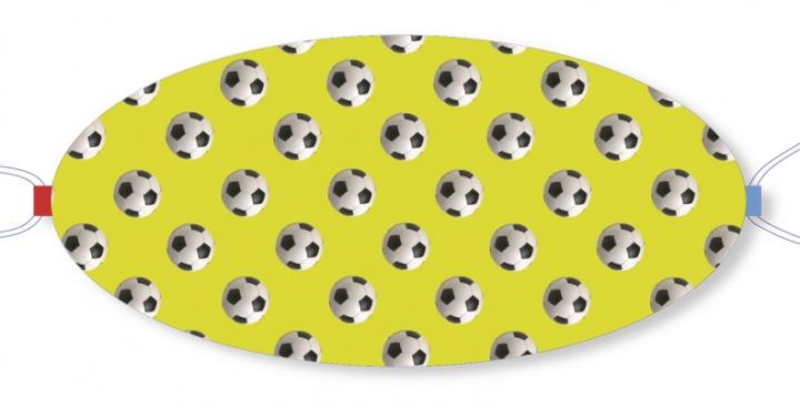 Ovaletti - Mund-Nasen-Maske / Fussbälle vor gelbgrün