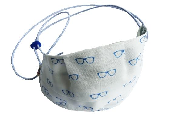 Ovaletti - Mund-Nasen-Maske / blaue Brillen