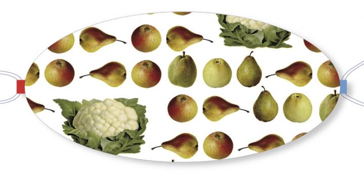 Ovaletti - Mund-Nasen-Maske / Obst & Gemüse