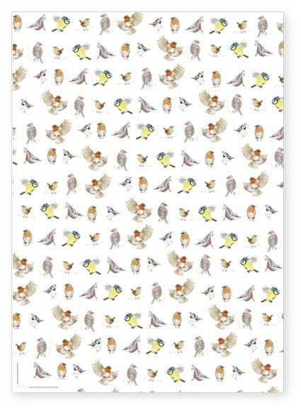 Geschenkpapierbogen Singvögel