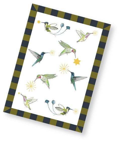 Kolibri Weihnachtskarte / weiss