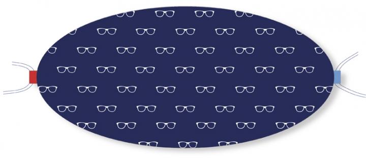 Ovaletti - Mund-Nasen-Maske / weisse Brillen auf Blau